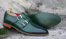 Load image into Gallery viewer, Awesome Men's Handmade Green Leather Cap Toe Buckle Shoes. Men Dress Formal Fashion Shoes