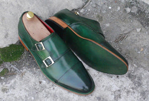 Awesome Men's Handmade Green Leather Cap Toe Buckle Shoes. Men Dress Formal Fashion Shoes