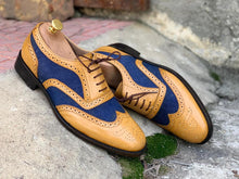 Load image into Gallery viewer, Awesome Handmade Men's Tan Blue Leather Denim Wing Tip Brogue Shoes, Men Dress Formal Lace Up Shoes