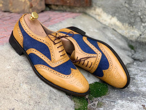 Awesome Handmade Men's Tan Blue Leather Denim Wing Tip Brogue Shoes, Men Dress Formal Lace Up Shoes