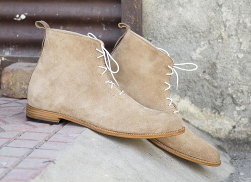 Elegant Handmade Men's Beige Suede Lace Up Boots, Men Casual Fashion Ankle High Boots