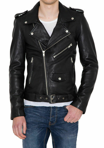 Men's Motorcycle Genuine Lambskin Leather Jacket, Zipper Black Slim fit Biker Jacket For Men - theleathersouq