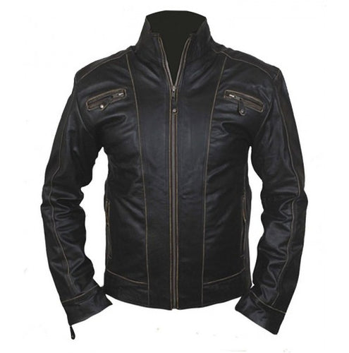 New Men's Black Rub Off Front Zipper Original Leather Jacket, Black Leather Jacket - theleathersouq