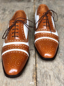 Handmade Men's Leather Lace Up Shoes, Men's Brown & White Brogue Stylish Shoes - theleathersouq