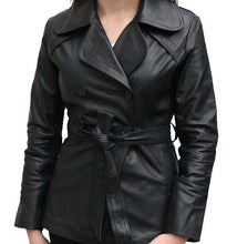 Load image into Gallery viewer, Stylish Women's Black Color Leather Coat/ Jacket, Black Leather Belt Coat For Ladies - theleathersouq