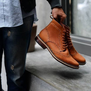 Stylish Men's Handmade Tan Color Ankle High Leather Lace Up Boots - theleathersouq
