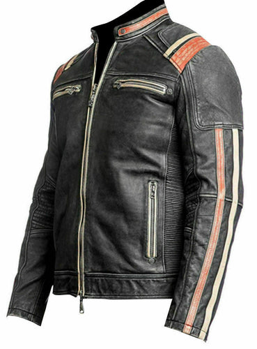 New Men's Retro 3 Cafe Racer Biker Vintage Motorcycle Distressed Moto Leather Jacket - theleathersouq