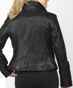 Stylish Women's Black Zipper Leather Jacket, Women's Black Leather Fashion jacket - theleathersouq