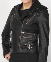 Load image into Gallery viewer, Stylish Women's Black Zipper Leather Jacket, Women's Black Leather Fashion jacket - theleathersouq