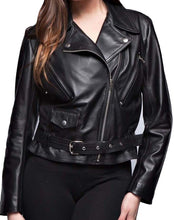 Load image into Gallery viewer, Stylish New Women's Black Brando Belted Leather Jacket, Fashion Leather Jacket For Women - theleathersouq