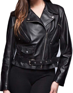 Stylish New Women's Black Brando Belted Leather Jacket, Fashion Leather Jacket For Women - theleathersouq