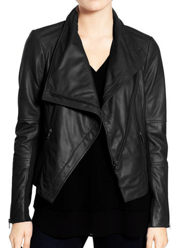 Stylish Women's Black Wide Collar Leather Jacket,Fashion Zipper Women Leather Jacket - theleathersouq