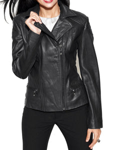New Stylish Brand New Women's Fashion Motorcycle Cow Leather Slim fit Jacket - theleathersouq