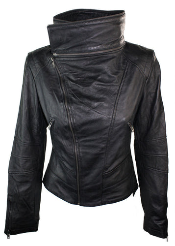 Stylish Brand New Women's Fashion Motorcycle Cow Leather Slim fit Jacket - theleathersouq