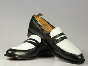 New Handmade Men's Black White Leather Penny Loafer Dress Shoes, Men Designer Shoes - theleathersouq