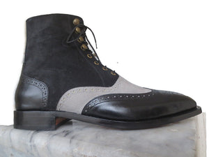 Handmade Men's Leather Suede Ankle Boots, Men's Black & Gray Lace Up Boots - theleathersouq