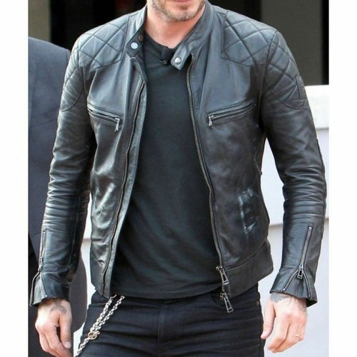 New Men's Genuine Lambskin Black Leather Biker Jacket Inspired by David Beckham - theleathersouq