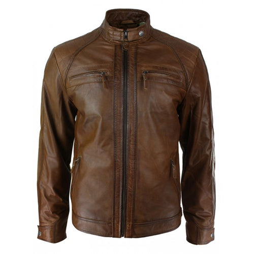 New Men's Retro Style Zipped Biker Jacket, Real Leather Soft Brown Casual Men Jacket - theleathersouq