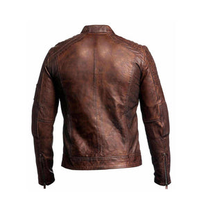 Beautiful Men's Biker Vintage Ribbed Motorcycle Distressed Brown Cafe Racer Leather Jacket - theleathersouq