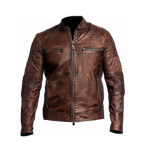 Load image into Gallery viewer, Beautiful Men's Biker Vintage Ribbed Motorcycle Distressed Brown Cafe Racer Leather Jacket - theleathersouq