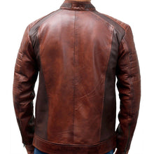 Load image into Gallery viewer, Stylish Men's Cafe Racer Motorcycle Vintage Distressed Brown Waxed Biker Leather Jacket - theleathersouq
