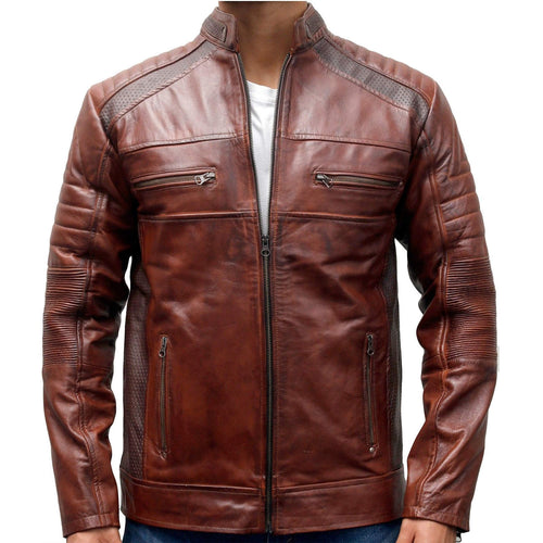 Stylish Men's Cafe Racer Motorcycle Vintage Distressed Brown Waxed Biker Leather Jacket - theleathersouq