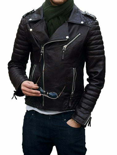 New Stylish Men's Quilted Leather Jacket, Men's Soft Cowhide Biker Bomber jacket - theleathersouq