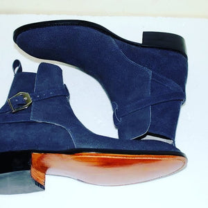 Stylish Handmade Navy blue Suede jodhpurs boots for men, Men's Navy blue ankle suede boots - theleathersouq