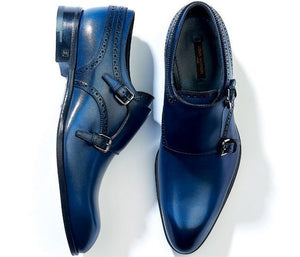 Men's Blue Color Monk Double Buckle Strap Plain Rounded Toe Genuine Leather Shoes - theleathersouq