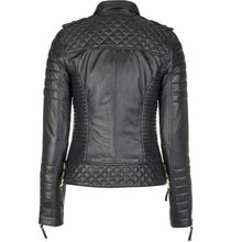 Load image into Gallery viewer, New Genuine Lambskin Leather Slim fit Ladies Jacket, Motorcycle Biker Jacket For Women - theleathersouq