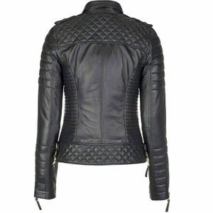 New Genuine Lambskin Leather Slim fit Ladies Jacket, Motorcycle Biker Jacket For Women - theleathersouq
