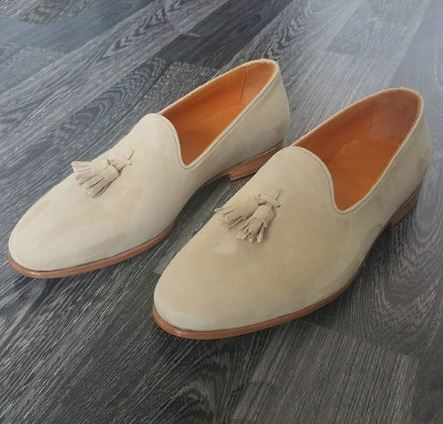 Elegant Handmade Men Beige Suede Dress Tassel Moccasins Slip On Shoes, Men Suede Loafer Shoes - theleathersouq