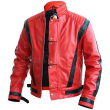 Load image into Gallery viewer, Men's Stylish Red & Black Leather Jacket, Men's Fashion Biker Jacket - theleathersouq