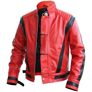 Men's Stylish Red & Black Leather Jacket, Men's Fashion Biker Jacket - theleathersouq