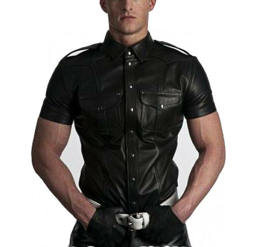 New Men's Real genuine Leather Police Uniform Shirt Sexy Short Sleeve Leather Shirt - theleathersouq