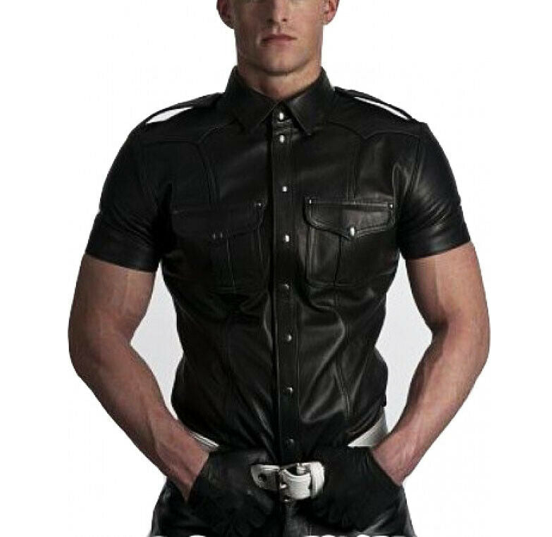 Men/'s Leather Boys Police Military Style Uniform Shirt Casual Shirt  Leather Shirt  Luxury Made Shirt  Party Wear Shirt  Leather Shirt