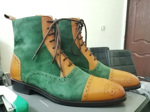 Designer Men's Handmade Green & Tan Ankle High Leather & Suede Lace Up Boots - theleathersouq