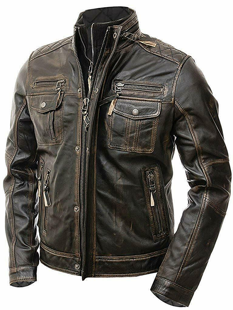 New Men's Vintage Cafe Racer Distressed Retro Biker Genuine Leather Jacket - theleathersouq