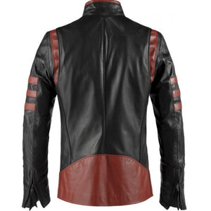 X-Men Origins Wolverine Red Black Leather Jacket, Men's Leather Jacket - theleathersouq