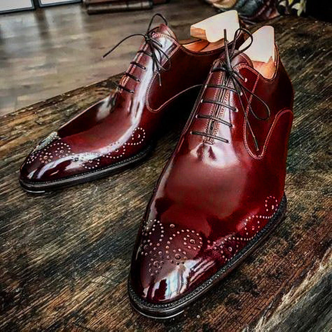 Stylish Handmade Men American Luxury Brogue Toe Maroon Leather Shoes, leather shoes - theleathersouq