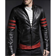 Load image into Gallery viewer, X-Men Origins Wolverine Red Black Leather Jacket, Men's Leather Jacket - theleathersouq