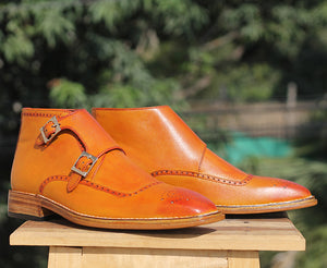Men's Handmade Tan Double Buckle Leather Brogue Toe Ankle Boots - theleathersouq
