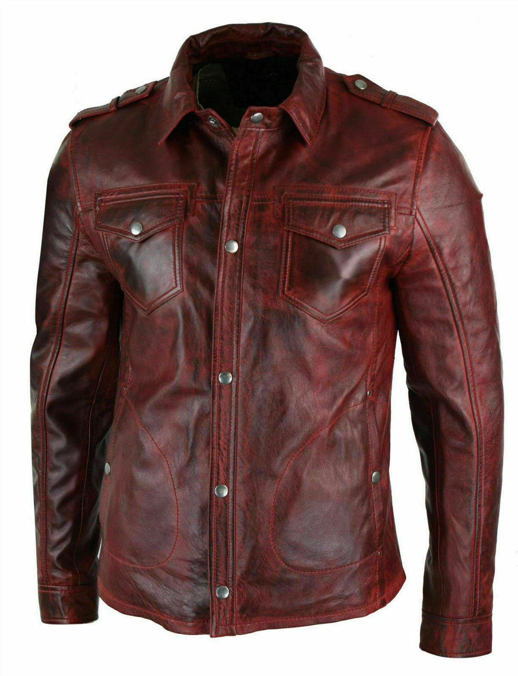 New Men's Shirt Jacket Maroon Real Soft Genuine Waxed Leather Shirt Leather for Mens - theleathersouq