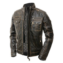 Load image into Gallery viewer, Cafe Racer Vintage Men's Distressed Biker Brown Jacket - theleathersouq