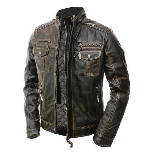 Cafe Racer Vintage Men's Distressed Biker Brown Jacket - theleathersouq