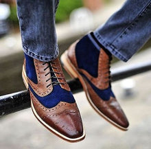 Load image into Gallery viewer, New Men blue and brown ankle boots ,Handmade Men two tone boots,  Men's casual boots - theleathersouq