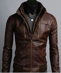 New Men's Leather Jackets, Korean Style Casual Slim Fit Biker leather Jacket For Men - theleathersouq