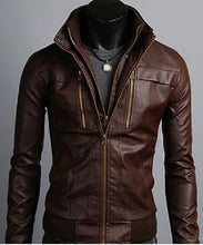 Load image into Gallery viewer, New Men's Leather Jackets, Korean Style Casual Slim Fit Biker leather Jacket For Men - theleathersouq