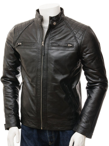 Stylish Men's Black Biker Leather Jacket, Handmade Genuine fashion biker jacket - theleathersouq