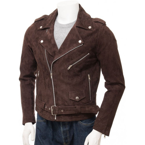 Stylish Handmade Men's Brown Suede Biker Motorcycle Fashion Belted Jacket - theleathersouq